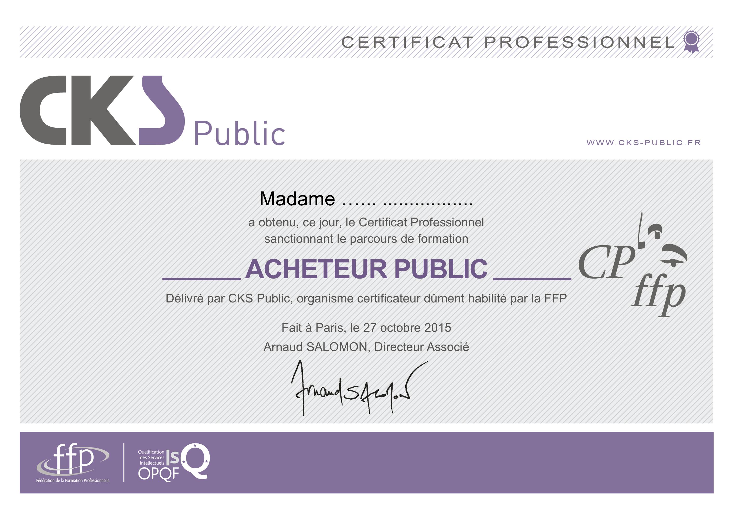 Certificat Professionnel Acheteur Public